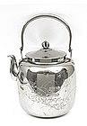 Old Japanese Silver Teapot Tea Pot w Flowers
