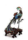 Chinese Export Enamel Filigree Silver Bird Phoenix