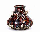 Japanese Awaji Dragon Pottery Ceramic Studio Vase Mk
