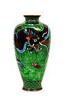 Japanese Ginbari Green Cloisonne Dragon Vase