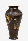 Meiji Japanese Mixed Metal Iron Vase w Bird