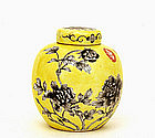 19C Chinese Diayazai Famille Rose Jaune Tea Caddy