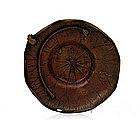 Old Japanese Bronze Lotus Pad Bowl Basket w Frog Sg