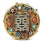 Chinese Filigree Gilt Brass Jade Enamel Jewel Box