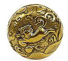 17C Chinese Bronze Fu Lion Dog Scholar Ink Box