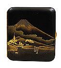 Old Japanese Makie Lacquer Cigarette Case Mt. Fuji