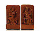 Old Chinese Red Glaze Porcelain Bookends Figurine