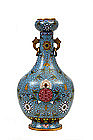 19C Chinese Gilt Cloisonne Vase with Flower