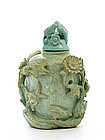 Old Chinese Turquoise Snuff Bottle Bird Flower