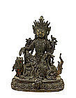 17C Chinese Bronze Buddha Kwan Guan Yin Lion Dog