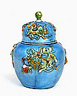 Chinese Enamel Cloisonne Tea Caddy Jar Lion Dog