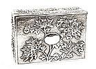 Early 20C Chinese Silver Box Chrysanthemum MK