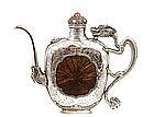 19C Chinese Tibetan Silver Dragon Wine Pot