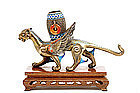 Chinese Enamel Filigree Silver Jewel Stone Griffin