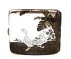 Japanese Silver Mixed Metal Cigarette Case w Bird