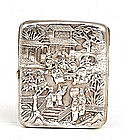 Old Chinese Export Repousse Silver Cigarette Case