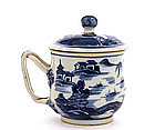 Old Chinese Export Blue & White Tea Cup Figure