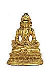 19C Chinese Gilt Lacquer Stucco Buddha Quan Yin