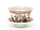 Old Chinese Famille Rose Cup Saucer Figure