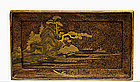 Meiji Japanese Makie Lacquer Tray with Temple Scene