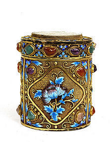Chinese Enamel Sterling Silver Jade Jewel Box Mk