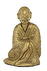 Old Chinese Bronze Louhan Buddha Monk Figure Figurine