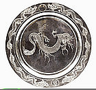 Old Chinese Sterling Silver Dragon Plate Monogram Mk