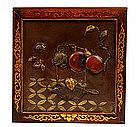 Meiji Japanese Mixed Metal Painting Pomegranate Basket