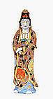Lg Old Japanese Kutani Moriage Kannon Buddha Sg