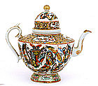 19C Chinese Export Famille Rose Domed Teapot Butterfly
