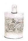 Old Chinese Sterling Gilt Silver Flask Dragon Mk