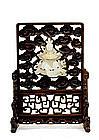 18C Chinese White Jade Nephrite Lady Figure  Screen