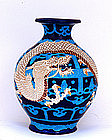 Old Japanese Blue Satsuma Moriage Dragon Vase Mk