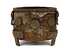 19C Korean Iron Silver Inlaid Censer Incense Burner