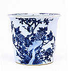 Old Chinese Blue & White Planter Flower Bird