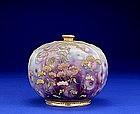 Unusual Nippon Violet Beaded Coralene Vase