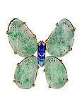 Chinese Gilt Silver Enamel Apple Green Jade Pin