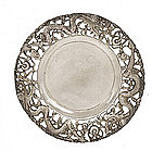6 Old Chinese Silver Dragon Dish Marked