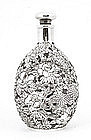 Japanese Sterling Silver Glass Decanter Flower MK