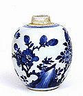17C Chinese Kangxi Blue & White Porcelain Tea Jar