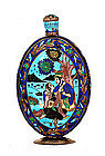 Old Hindu India Indian Silver Enamel Bottle Decanter