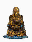 Old Chinese Bronze Painted Louhan Buddha Monk