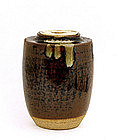 Japanese Pottery Chaire Tea Caddy with Cover & Bag