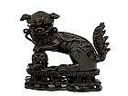 16C Chinese Bronze Fu Lion Dog on Wood Stand