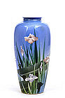 Old Japanese Shofu Studio Vase Moriage Iris Sg