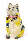 Old Japanese Banko Ware Cat Shaped Teapot Marked