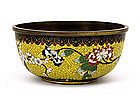 Old Chinese Cloisonne Bowl with Peony Flower