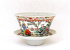 Old Chinese Famille Rose Cup Saucer Figurine