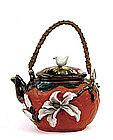 Old Japanese Sumida Gawa Teapot w Flower Ryosai