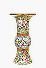 Chinese Famille Rose Mille Fleur Trumpet Vase